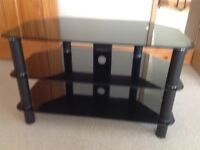 Black glass 3 tier TV stand, excellent condition