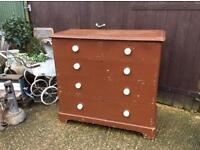 Vintage Victorian solid wood painted Chest Of drawers