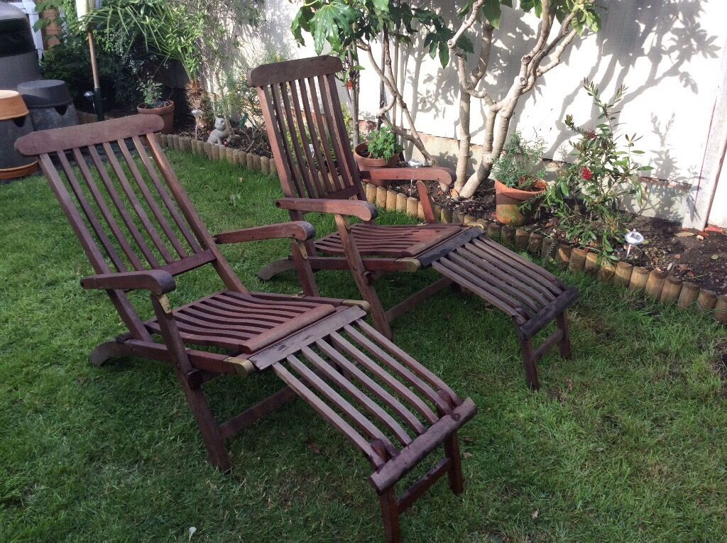Pair Of Kent Collection Teak Steamer Chairs With Detachable Footrest