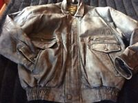 BROWN SOFT LEATHER BOMBER JACKET