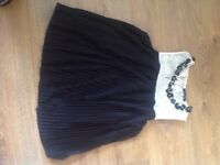 River island black pleated top with lace trim size 10
