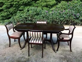 Regency style dining table with 6 chairs