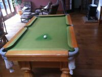 6' x 4' Pool Table - Oak Frame and legs with Italian Slate as a base. Furniture as well as useable