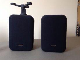 "Pair of ARISTON Stereo Bookshelf Speakers with optional brackets. 8""h x 5.5"" wide x 5""deep"