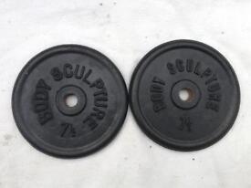 6 x 7.5kg Bodysculpture Standard Cast Iron Weights