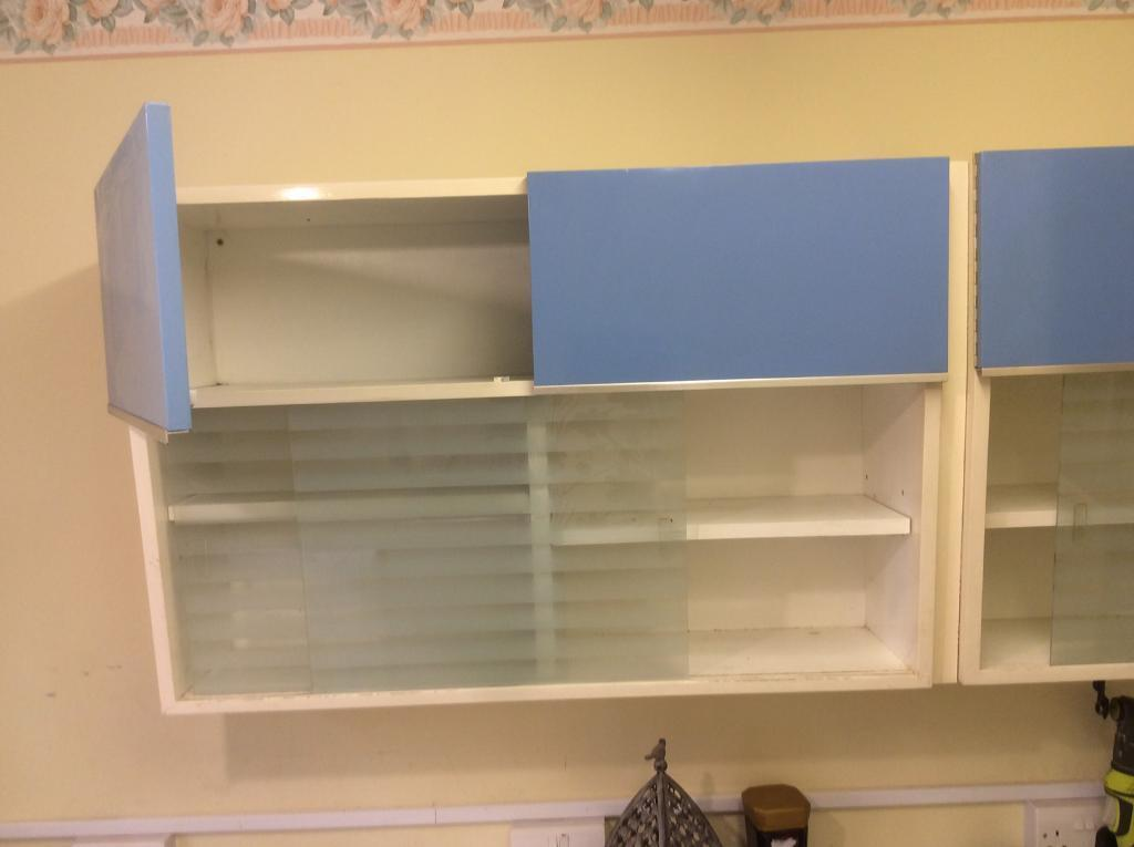 1970s Retro Blue Cupboards with sink unit and worktop
