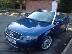 Audi Cabriolet SE 2.4 (CVT) 30V 2002 Met Blue Drives nice all rounder with summer fun bargain £1495