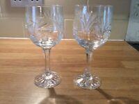 2 crystal wine glasses