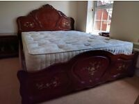 Chinese Oriental Furiture bed dressing table and side table.