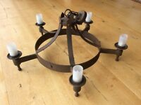 SMITHBROOK SAXON 5 LIGHT AGED IRON CANDLE STYLE CHANDELIER