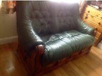 Leather green sofa oak wood