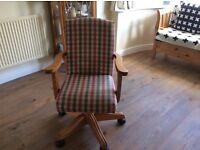 Office Swivel Armchair - Tartan Cloth - Very Smart - Very Nice Condition.
