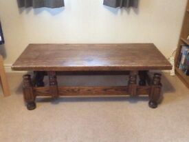 20th century German solid oak rectangular coffee table