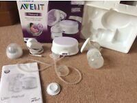 Avent Natural Electric Breast Pump + 2 x large Avent natural bottles with size 4 teats