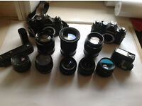 Chinon CM-3 Camera's and 8 Lenses + Extras