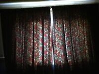 pair of full length fully lined floral cotton curtains