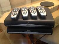 2 sky +HD boxes with 4 controllers one nearly new.