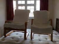 Two cream chairs for sale. In good condition. From clean, pet free and smoke free home.