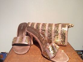 Size 5 slip on gold evening shoes and matching bag
