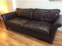 Large soft brown leather sofa