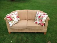 Two seater sofa settee. Rattan wicker conservatory