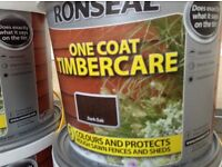 RONSEAL ONE COAT FENCE PAINT IN DARK OAK JOBLOT 4 CANS