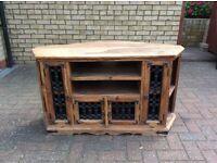 Sheesham / Jali solid Indian wood and iron TV cabinet.
