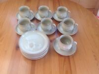 Denby 'daybreak' pattern cups, saucers & sideplates