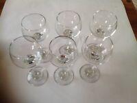 Six stemmed Hock glasses- boxed