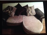 2 lovely mixed fabric & leather sofas for sale