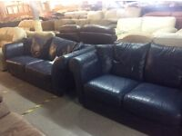 Navy leather 3 & 2 seater sofa
