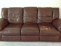 Free Leather reclining 3 seater sofa