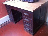 Project!!! Antique ABBESS Teachers Executive Pedestal Desk Bureau Writing Table w/ Drawers Needs TLC