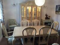 Dining table and six chairs with glass cabinet