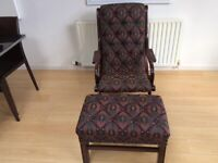 Chesterfield style lounge chair and matching stool
