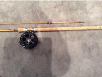 Chapman 500 split cane fishing rod and centrepin reel