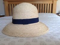 Marks and Spencers ladies straw hat with navy fabric trim