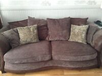 Brown 3 Seater Sofa and 2 Seater Sofa Bed