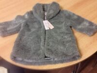Monsoon brand new girls faux fur coat age 18-24 months