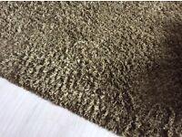 Large green shaggy rug