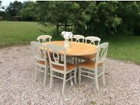 Shabby Chic Solid Pine Extending Pedestal Dining Table with 6 Chairs Painted in Farrow and Ball