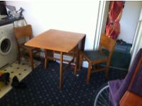 Drop leaf table, Side board, bookcase, 2 chairs, gold mirror, coffee table.