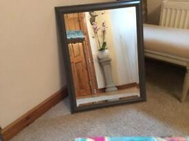 Lovely wooden mirror with beveled edge mirror, Grey