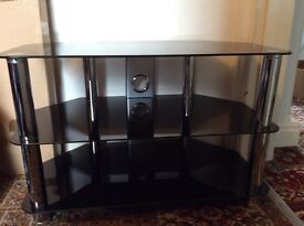Glass & Stainless Steel TV Stand