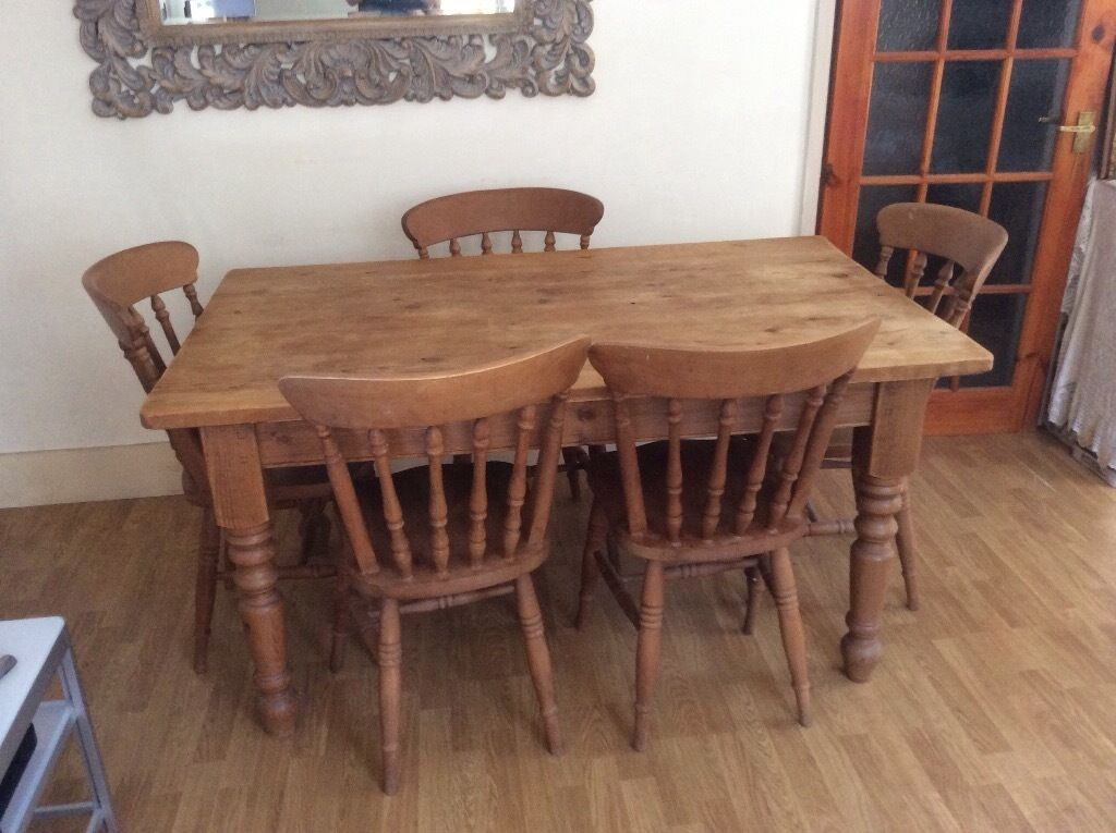 Solid Wood Large Dining Table And 5 Chairs Very Good