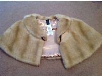 Fake fur over the shoulder shrug, new with tags from M&S