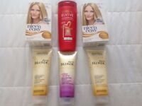 Blonde shampoo and hair dyes.