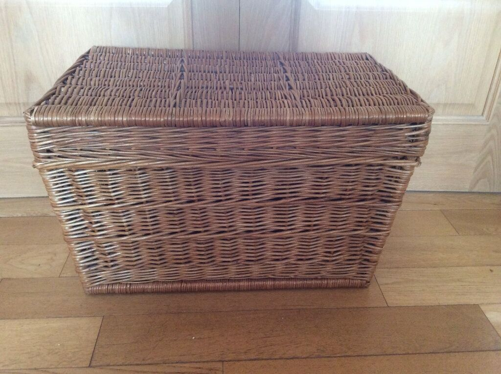 Wicker Toy Basket With Lid : Large wicker hamper storage box toy with lid in