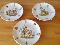 3 Staffordshire decorative Bear Plates