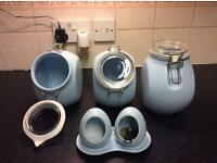Kitchen storage set, bread bin,3 canisters, salt and pepper pigs